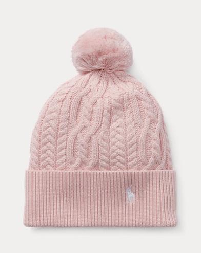 폴로 랄프로렌 걸즈 털방울 모자 핑크 Polo Ralph Lauren Aran-Knit Pom-Pom Hat,Hint Of Pink