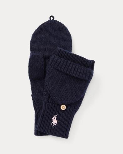 폴로 랄프로렌 걸즈 벙어리 장갑 네이비 Polo Ralph Lauren Aran-Knit Fold-Back Mittens, Hunter Navy
