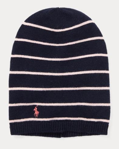 폴로 랄프로렌 걸즈 캐시미어 비니 네이비 Polo Ralph Lauren Striped Cashmere-Blend Hat, Hunter Navy
