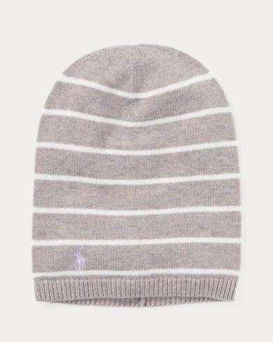 폴로 랄프로렌 걸즈 캐시미어 비니 그레이 Polo Ralph Lauren Striped Cashmere-Blend Hat,Light Grey Heather