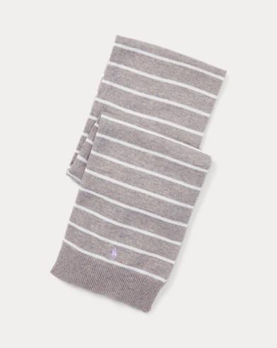 폴로 랄프로렌 걸즈 스트라이프 캐시미어 스카프 그레이 Polo Ralph Lauren Striped Cashmere-Blend Scarf,Light Grey Heather