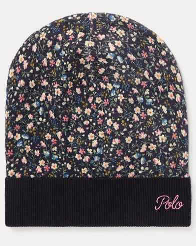 폴로 랄프로렌 걸즈 울 비니 네이비 Polo Ralph Lauren Floral Slouchy Wool Hat,Hunter Navy Multi
