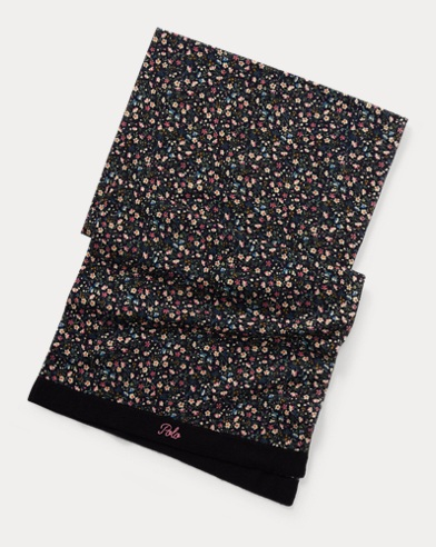 폴로 랄프로렌 걸즈 울 스카프 네이비 Polo Ralph Lauren Floral Merino Wool Scarf, Hunter Navy Multi