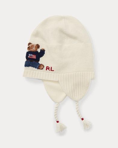 폴로 랄프로렌 걸즈 폴로베어 귀마개 모자 크림 Polo Ralph Lauren Polo Bear Earflap Hat,Cream