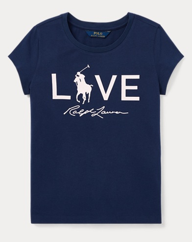 폴로 랄프로렌 걸즈 반팔 티셔츠 네이비 Polo Ralph Lauren Pink Pony Love Graphic T-Shirt,Spring Navy