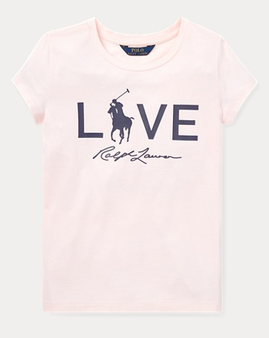 폴로 랄프로렌 걸즈 반팔 티셔츠 핑크 Polo Ralph Lauren Pink Pony Love Graphic T-Shirt,Love Pink