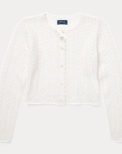 폴로 랄프로렌 여아용 가디건 크림 Polo Ralph Lauren Pointelle-Knit Cardigan,Cream
