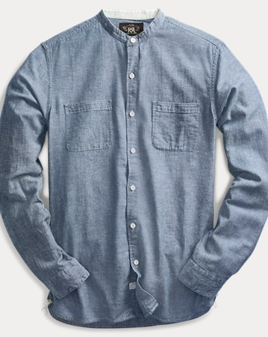 폴로 랄프로렌 Polo Ralph Lauren Chambray Band-Collar Shirt,Rl 118 Indigo