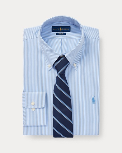 폴로 랄프로렌 Polo Ralph Lauren Slim Fit Striped Oxford Shirt,Blue/White