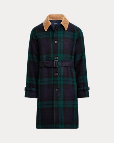 폴로 랄프로렌 타탄 체크 발마칸 코트 Polo Ralph Lauren Tartan Wool Balmacaan Topcoat,Black/Navy/Green