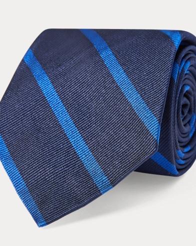 폴로 랄프로렌 Polo Ralph Lauren Striped Silk Twill Narrow Tie,Navy/Royal