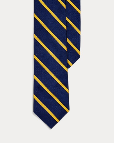 폴로 랄프로렌 Polo Ralph Lauren Striped Silk Twill Narrow Tie,Navy/Gold