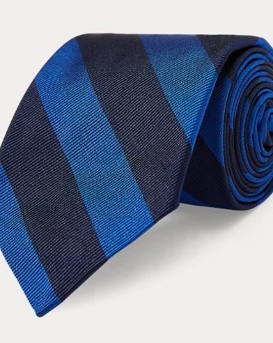 폴로 랄프로렌 Polo Ralph Lauren Striped Silk Twill Narrow Tie,Navy/Red
