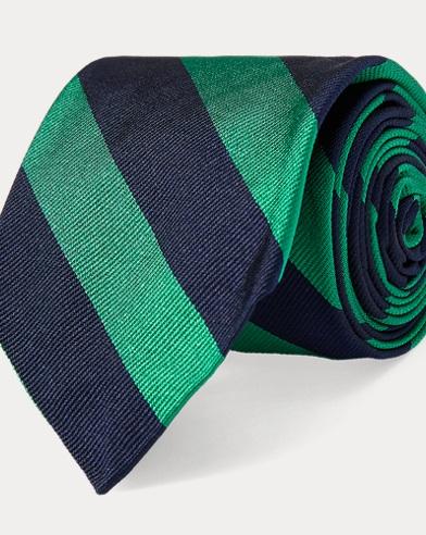 폴로 랄프로렌 Polo Ralph Lauren Striped Silk Twill Narrow Tie,Navy/Green
