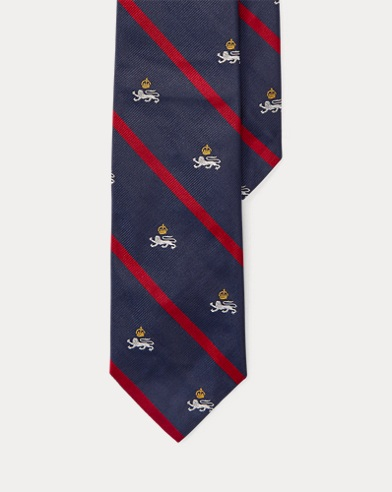 폴로 랄프로렌 Polo Ralph Lauren Silk Twill Narrow Club Tie,Navy/Red