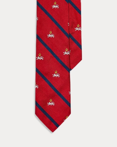 폴로 랄프로렌 Polo Ralph Lauren Silk Twill Narrow Club Tie,Red/Navy