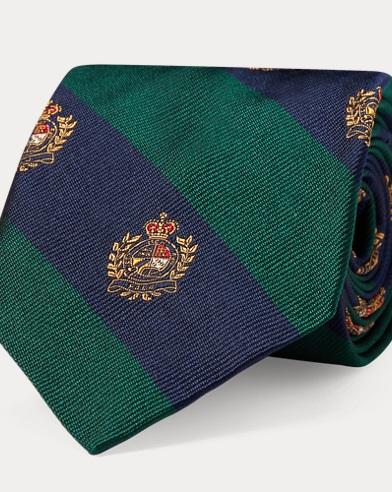 폴로 랄프로렌 Polo Ralph Lauren Silk Twill Narrow Club Tie,Green/Navy