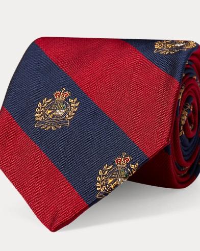 폴로 랄프로렌 Polo Ralph Lauren Silk Twill Narrow Club Tie,Red/Navy