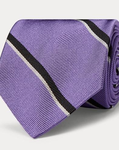 폴로 랄프로렌 Polo Ralph Lauren Striped Silk Twill Narrow Tie,Purple