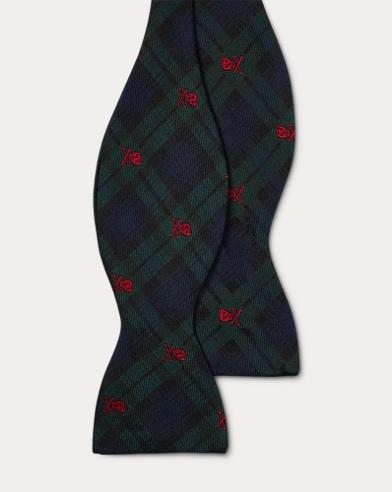 폴로 랄프로렌 Polo Ralph Lauren Tartan Silk Butterfly Bow Tie,Navy/Green