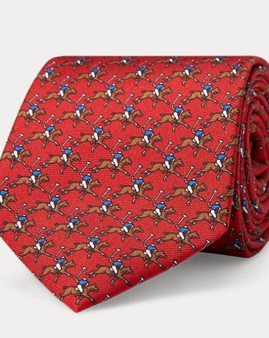 폴로 랄프로렌 Polo Ralph Lauren Polo Player Silk Narrow Tie,Red