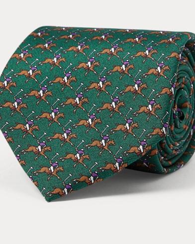 폴로 랄프로렌 Polo Ralph Lauren Polo Player Silk Narrow Tie,Dark Green
