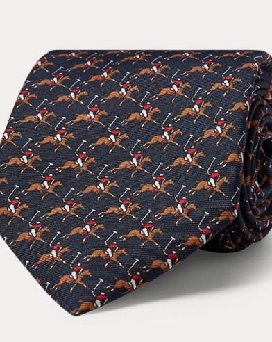 폴로 랄프로렌 Polo Ralph Lauren Polo Player Silk Narrow Tie,Navy