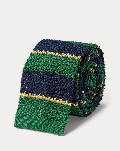 폴로 랄프로렌 Polo Ralph Lauren Striped Knit Silk Tie,Navy/Green/Gold