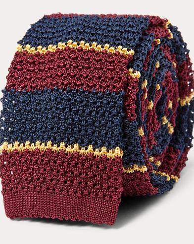 폴로 랄프로렌 Polo Ralph Lauren Striped Knit Silk Tie,Navy/Wine/Gold