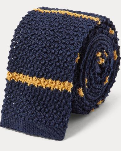 폴로 랄프로렌 Polo Ralph Lauren Striped Knit Wool Tie,Navy/Gold