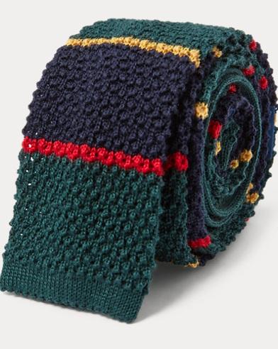 폴로 랄프로렌 Polo Ralph Lauren Striped Knit Wool Tie,Navy/Green/Red
