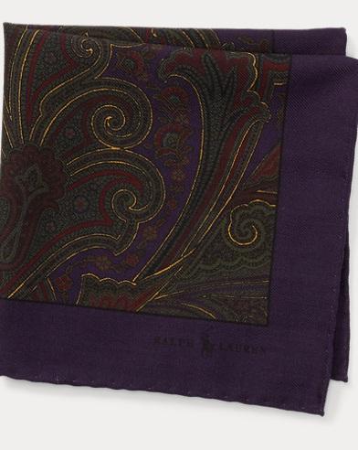 폴로 랄프로렌 Polo Ralph Lauren Paisley Wool Pocket Square,Purple