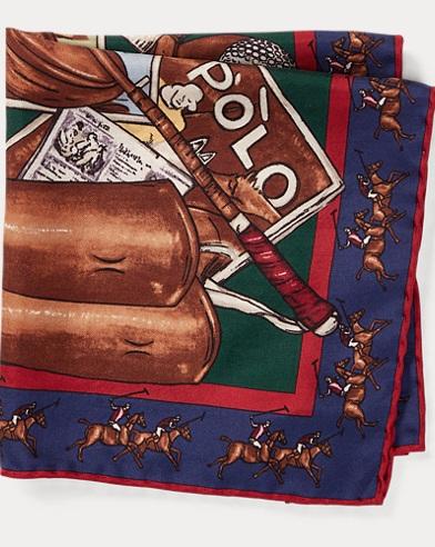 폴로 랄프로렌 Polo Ralph Lauren Equestrian Silk Pocket Square,Navy/Green