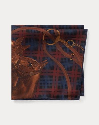 폴로 랄프로렌 Polo Ralph Lauren Horse Plaid Silk Pocket Square,Wine/Navy