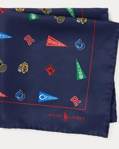 폴로 랄프로렌 Polo Ralph Lauren Collegiate Silk Pocket Square,Navy