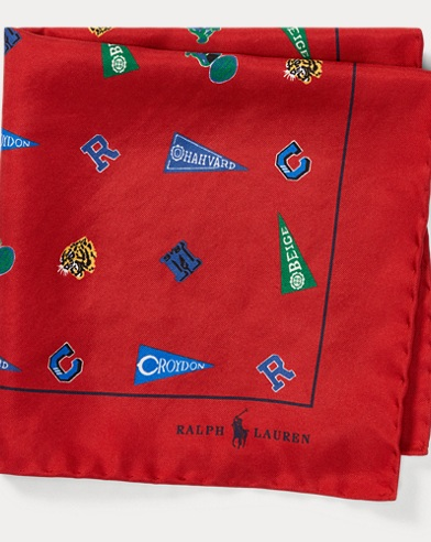 폴로 랄프로렌 Polo Ralph Lauren Collegiate Silk Pocket Square,Red