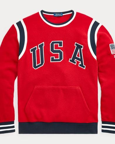 폴로 랄프로렌 Polo Ralph Lauren USA Fleece Sweatshirt,Ralph Red