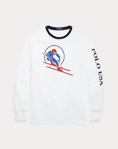 폴로 랄프로렌 '스키어' 티셔츠 화이트 (클래식핏) Polo Ralph Lauren Classic Fit Cotton T-Shirt,White