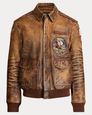 폴로 랄프로렌 Polo Ralph Lauren Leather Bomber Jacket,Dark Brown