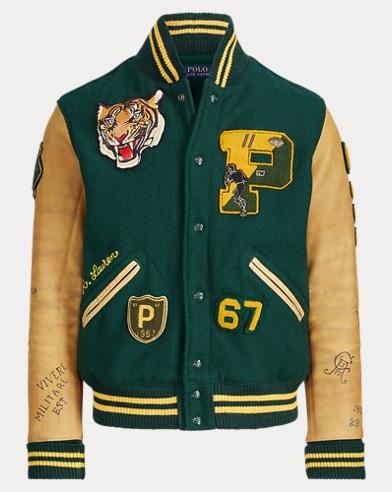 폴로 랄프로렌 타이거 패치 레터맨 자켓 Polo Ralph Lauren Wool-Blend Letterman Jacket,College Green