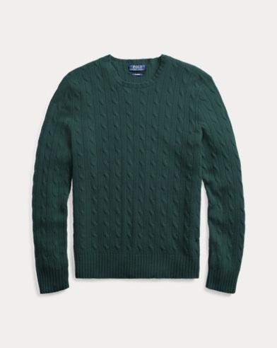 폴로 랄프로렌 꽈배기 니트 캐시미어 스웨터 다크그린 Polo Ralph Lauren Cable-Knit Cashmere Sweater