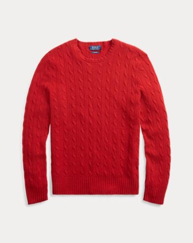 폴로 랄프로렌 꽈배기 니트 캐시미어 스웨터 레드 Polo Ralph Lauren Cable-Knit Cashmere Sweater