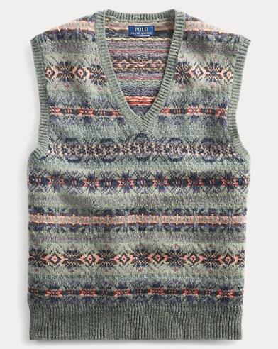 폴로 랄프로렌 Polo Ralph Lauren Fair Isle Wool-Blend Vest,Lovette Multi