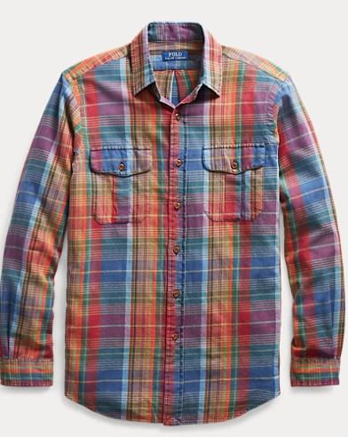 폴로 랄프로렌 마드라스 워크셔츠 (클래식 핏) Polo Ralph Lauren Classic Fit Madras Workshirt,2462 Scarlet/Blue Multi