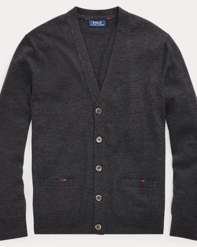 폴로 랄프로렌 Polo Ralph Lauren Washable Merino Wool Cardigan,Dark Granite Heather