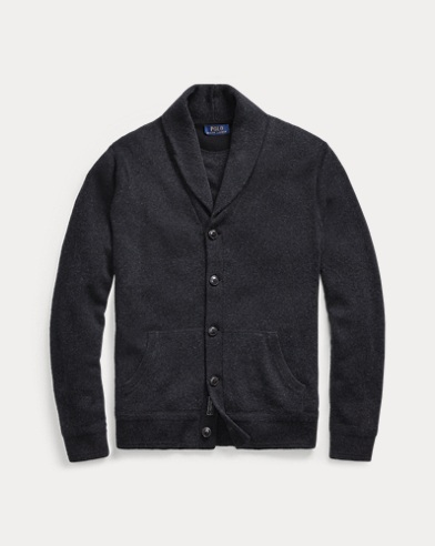 폴로 랄프로렌 Polo Ralph Lauren Merino Wool Shawl Cardigan,Deep Black Heather