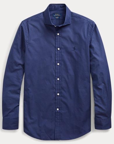 폴로 랄프로렌 Polo Ralph Lauren Classic Fit Plaid Twill Shirt,Black/Slate Blue