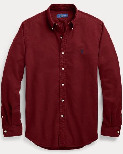 폴로 랄프로렌 슬림핏 옥스포드 셔츠 - 와인 Polo Ralph Lauren Slim Fit Oxford Shirt,Classic Wine