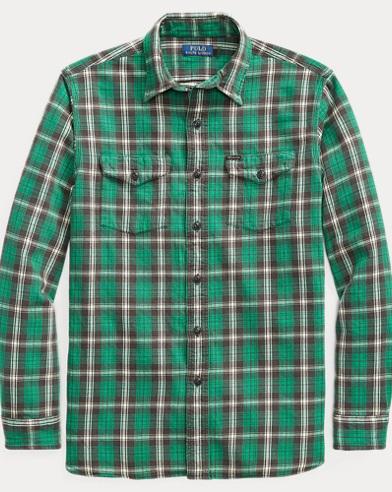 폴로 랄프로렌 플레이드 워크셔츠 (클래식 핏) Polo Ralph Lauren Classic Fit Plaid Workshirt,Aurora Green/Black