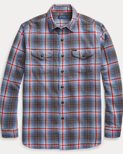 폴로 랄프로렌 플레이드 워크셔츠 (클래식 핏) Polo Ralph Lauren Classic Fit Plaid Workshirt,Pigment Blue/Red Multi